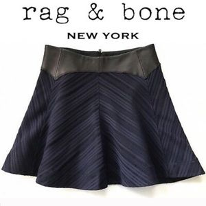 Rag & Bone Skater Skirt with Real Leather